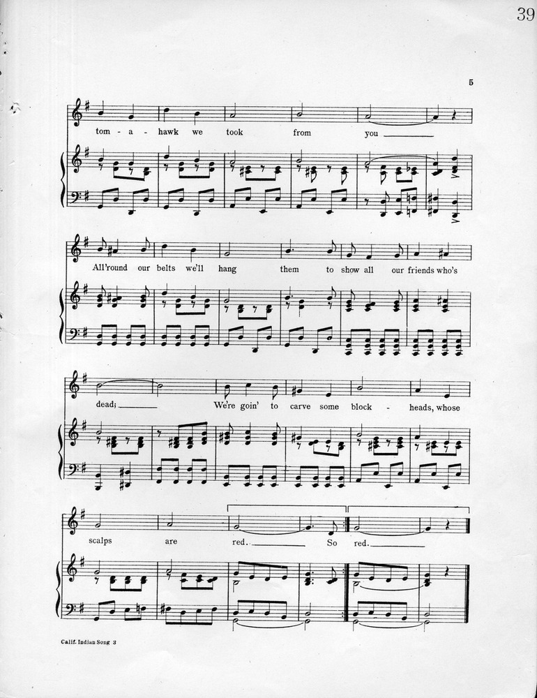 All Music Chords indian music sheet : 028.015 - California Indian Song, or, We're Goin to Scalp You ...