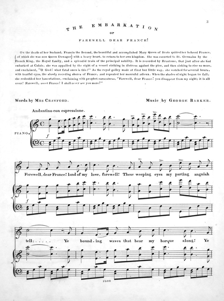 042 023 - Songs of Mary Queen of Scots  No 2  The Embarkation, or