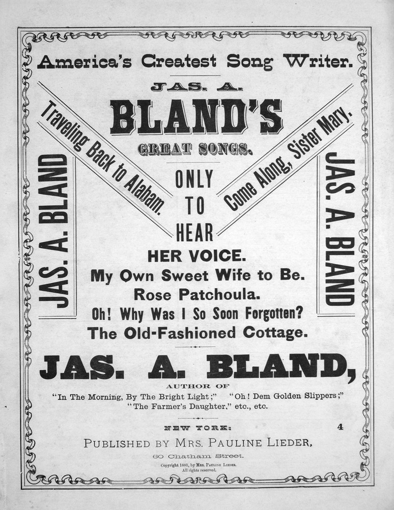 062 074 - America's Greatest Song Writer  Jas  A  Bland's Great
