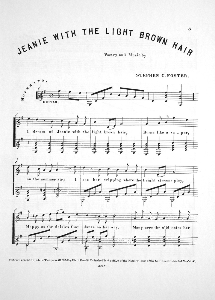 Piano i see the light piano sheet music : Jeanie With The Light Brown Hair Sheet Music - Brown Hairs