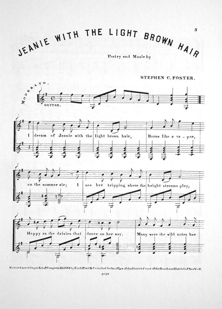 Piano i see the light piano sheet music : Jeanie With The Light Brown Hair Sheet Music - Brown Hairs