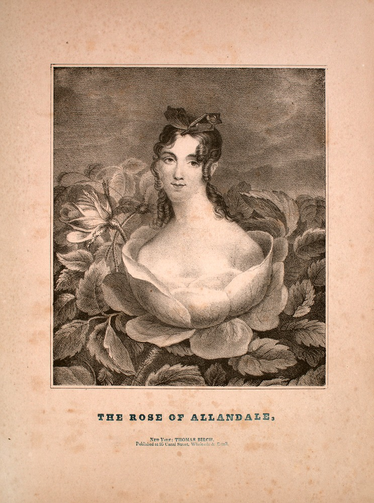 'Rose of Allandale. A Favorite Ballad'. Published by Thomas Birch, 95 Canal Street, New York. From the Lester S. Levy Sheet Music Collection.