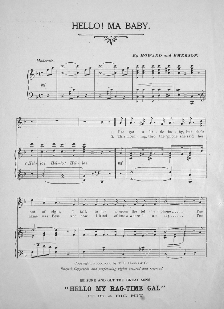 Piano hello piano sheet music : 141.013 - Hello Ma Baby. | Levy Music Collection