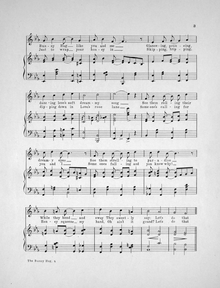 All Music Chords one sweet day sheet music : 151.090 - The Bunny Hug. The Craze of the Day. | Levy Music Collection