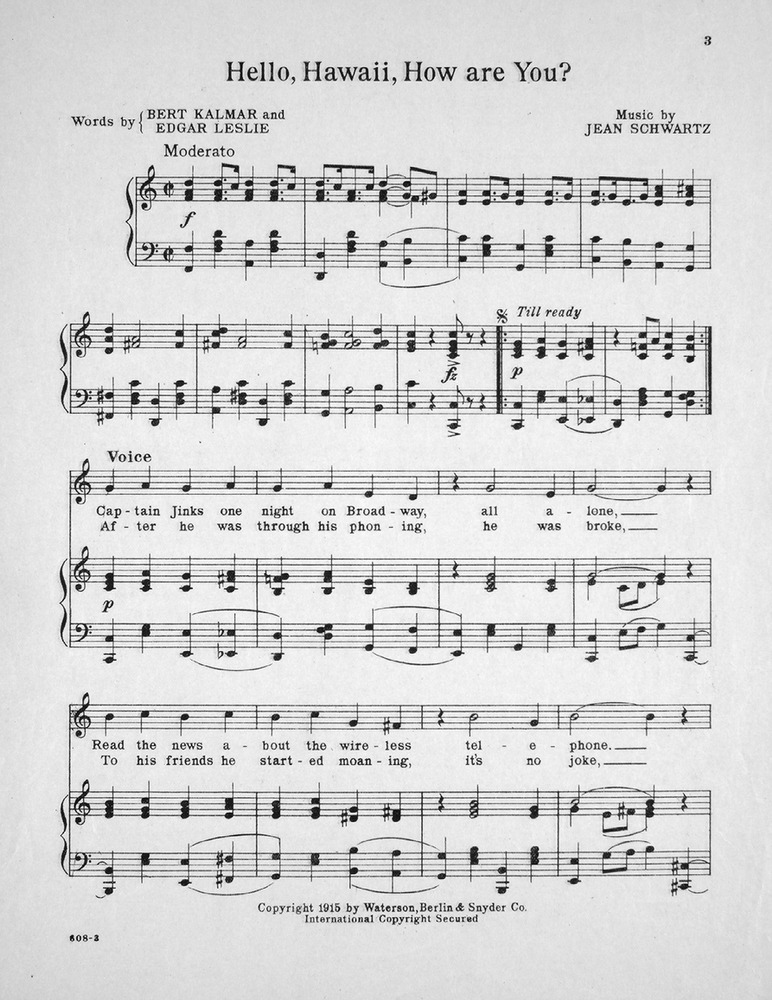 Piano hello piano sheet music : 152.071 - Hello Hawaii, How Are You. | Levy Music Collection