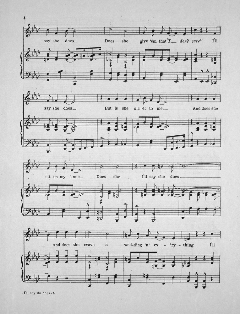 All Music Chords sheet music for say something : 152.155 - I'll Say She Does. Song. | Levy Music Collection