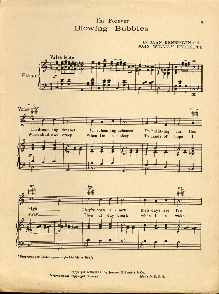 152.162b - i'm forever blowing bubbles. [cmajor] | levy music collection  levy sheet music - johns hopkins university