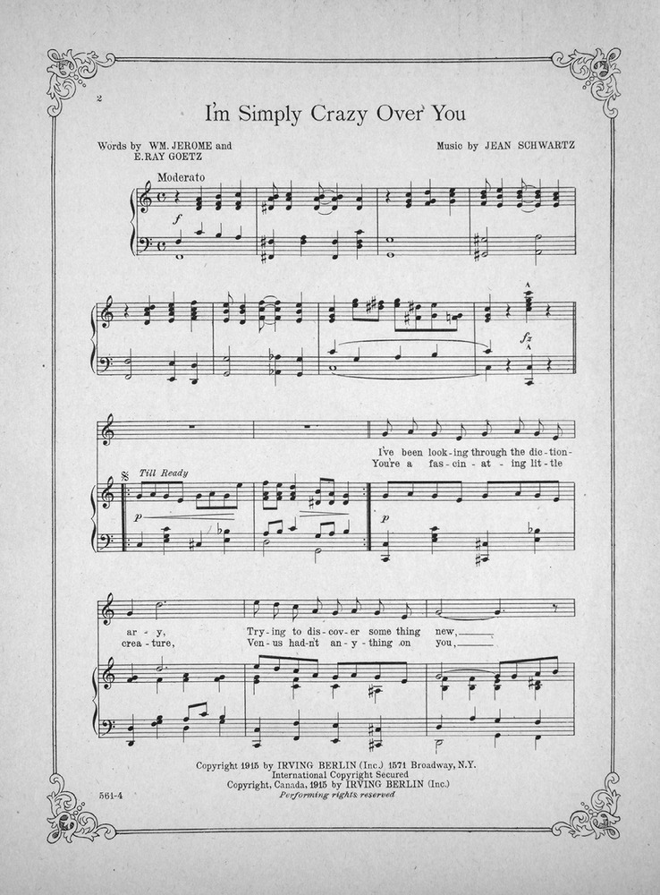 All Music Chords crazy sheet music : 152.176 - I'm Simply Crazy Over You. | Levy Music Collection