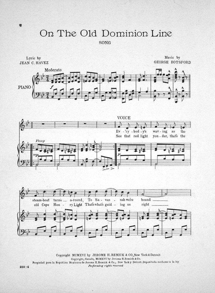 Piano i see the light piano sheet music : 154.046 - On the Old Dominion Line. Song. | Levy Music Collection