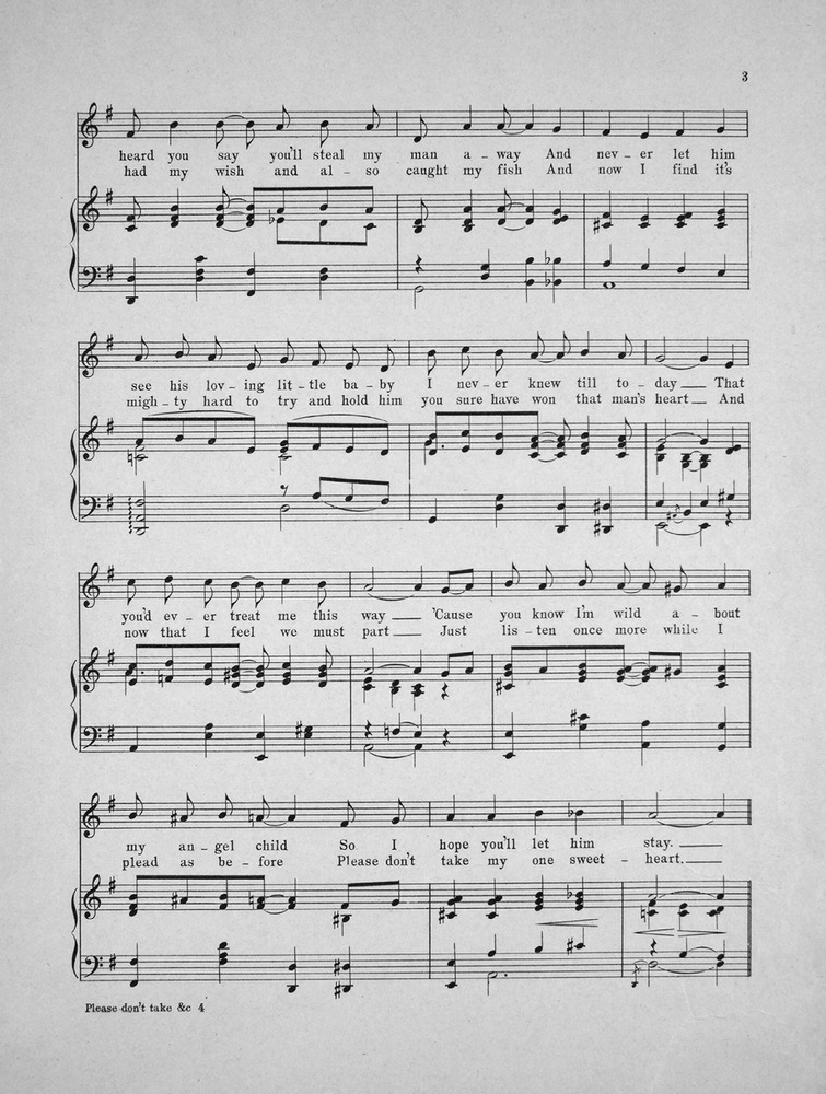 All Music Chords one sweet day sheet music : 154.067a - Please Don't Take My Lovin' Man Away. | Levy Music ...