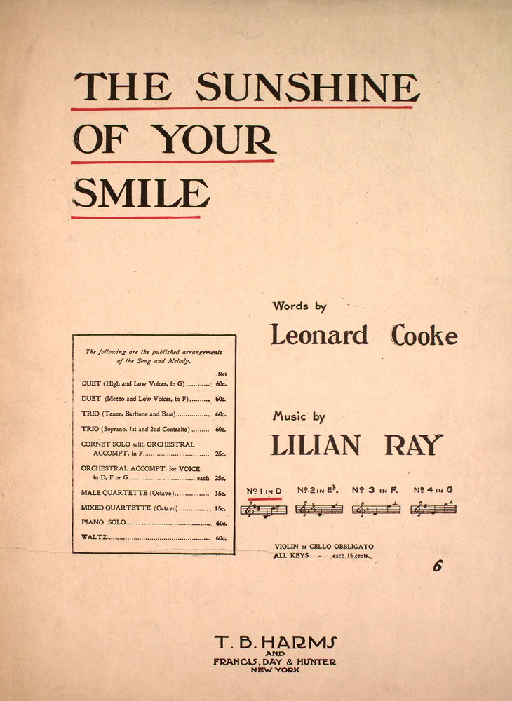 154.166 - The Sunshine of Your Smile. | Levy Music Collection