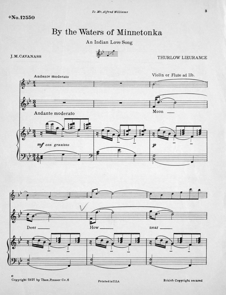 All Music Chords indian music sheet : 155.049a - By the Waters of Minnetonka. An Indian Love Song ...