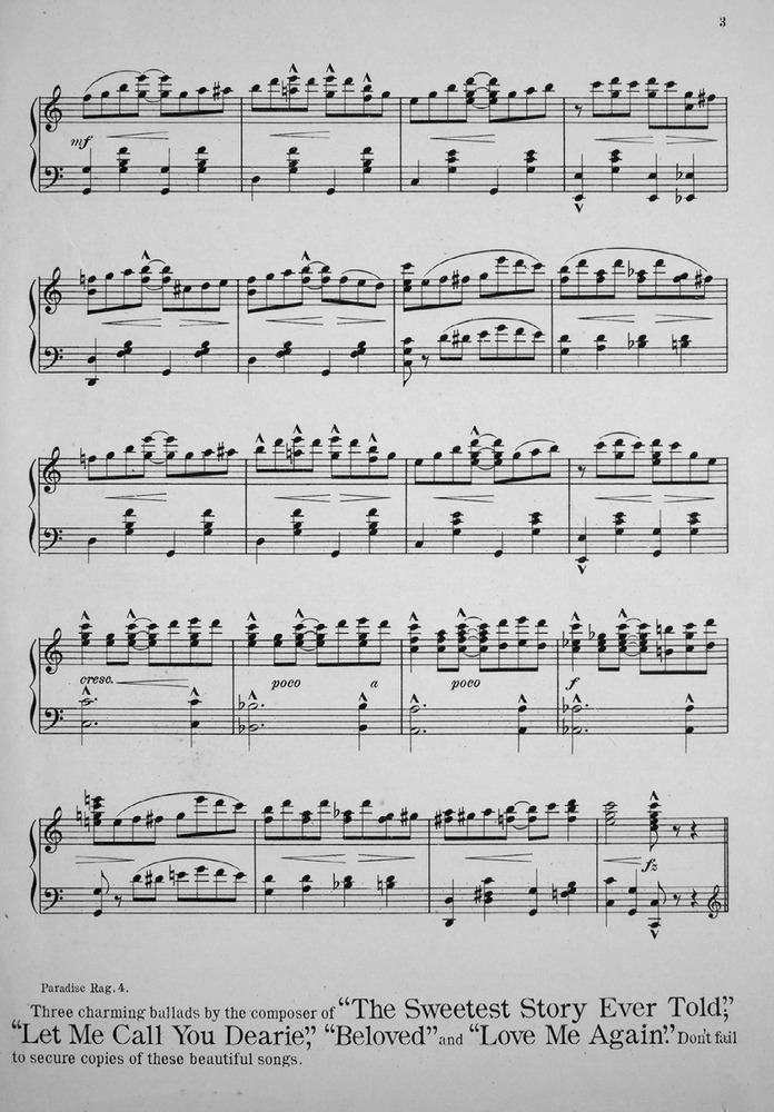 172.036 - Paradise Rag. Piano Solo. | Levy Music Collection